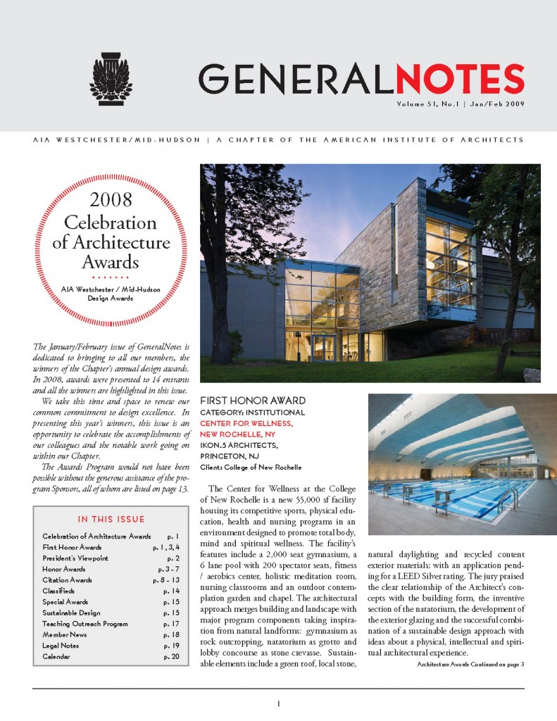 AIA Westchester Mid-Hudson Chapter General Notes newsletter - Jan-Feb 2009 edition - page 1