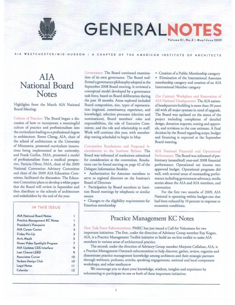 AIA Westchester Mid-Hudson Chapter General Notes newsletter - May-Jun 2009 edition - page 1