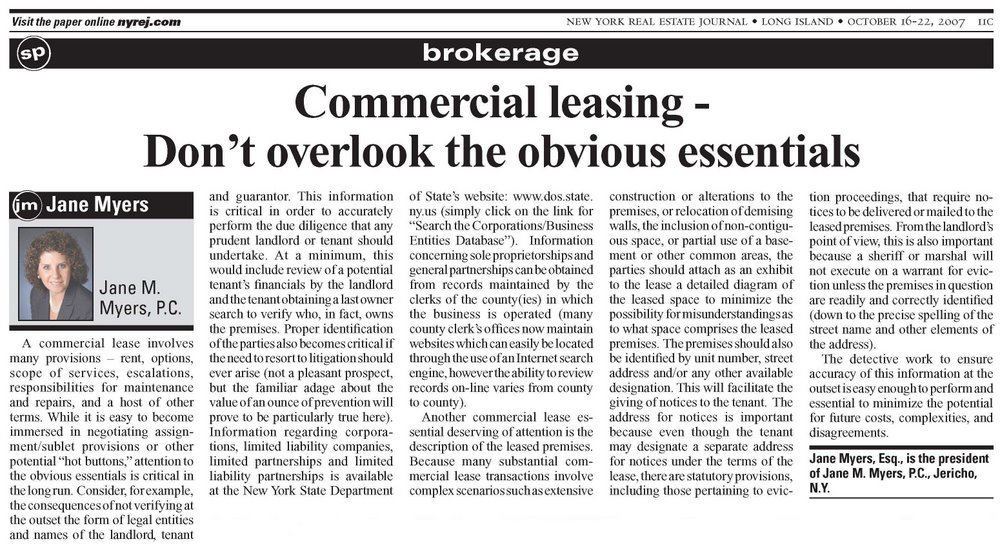 Commercial Leasing - Don't Overlook the Obvious Essentials - article from the October 16-22, 2007 edition of the New York Real Estate Journal
