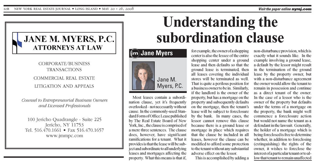 Understanding the Subordination Clause - article from the May 20-26, 2008 edition of the New York Real Estate Journal