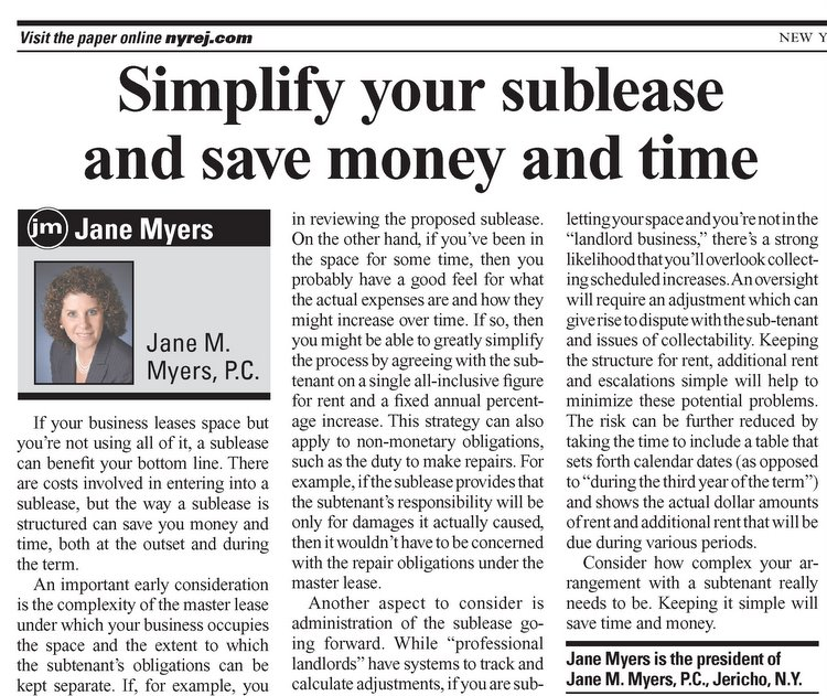 Simplify Your Sublease and Save Money and Time - article from the August 19-25, 2008 edition of the New York Real Estate Journal