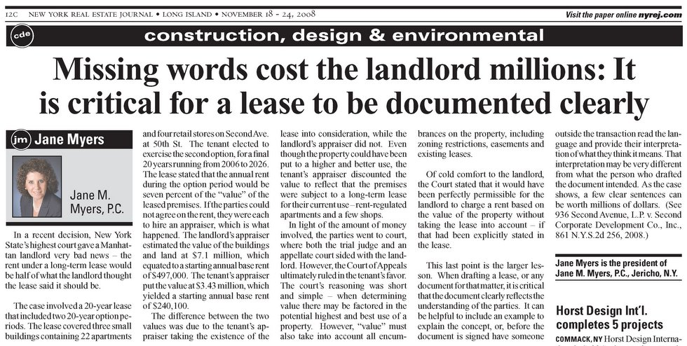 Missing Words Cost the Landlord Millions - article from the November 18-24, 2008 edition of the New York Real Estate Journal