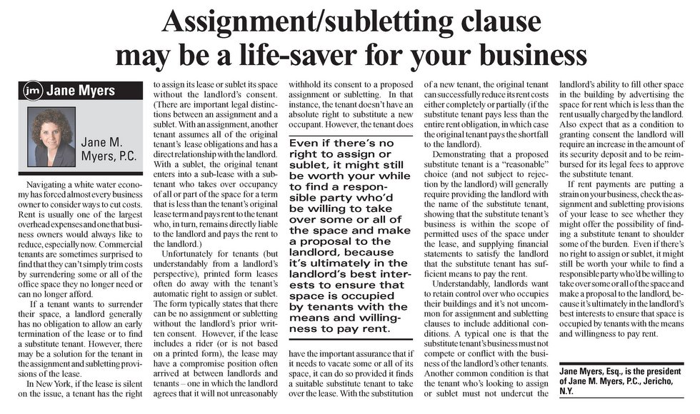Assignment-Subletting Clause may be a Life Saver for Your Business - article from the May 26 - June 8, 2009 edition of the New York Real Estate Journal